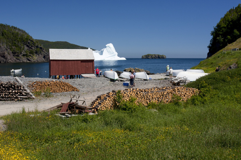 An iceberg in a tiny fishing harbour