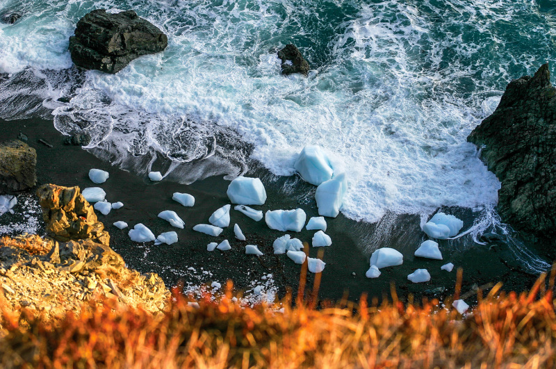 Icebergs on the shore