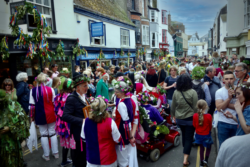 Crowds gather in Hastings' old town