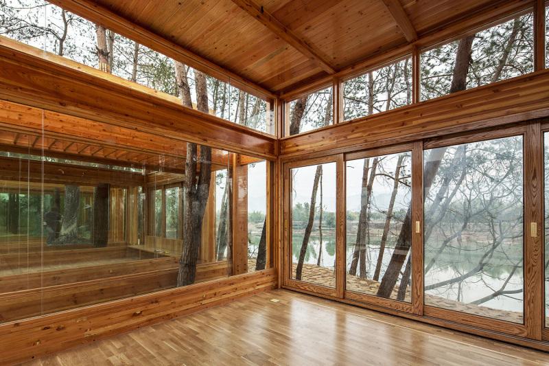 Inside the Pine Park Pavilion in Huangyu Village