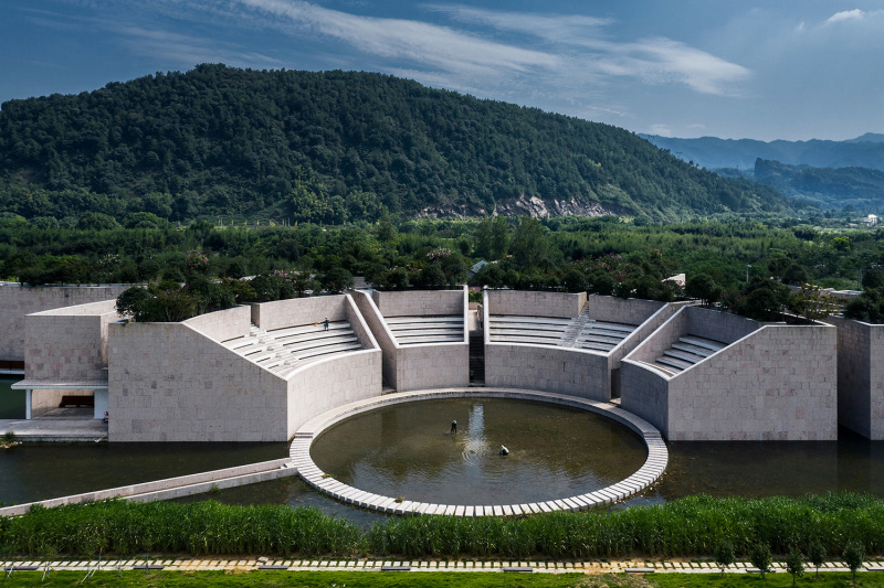 Aerial view of Water Conservancy Centre in Lishui