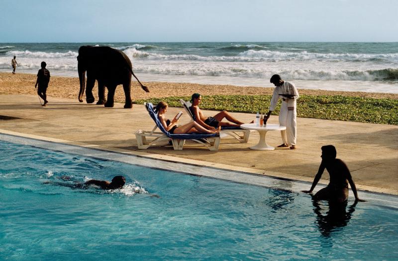 Elephant walking past pool –- Bentota, Sri Lanka, 1995