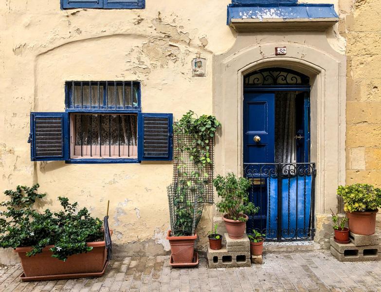 Residential doorway with garden, Senglea, Malta (Peter Moore)